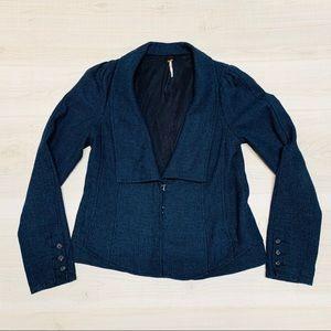 Free People blue wool blend tweed blazer